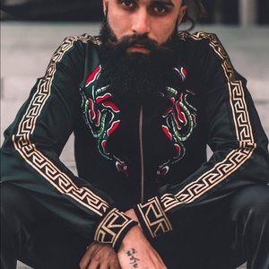 Black Gold Chain Embroidered ZIP Up Jacket